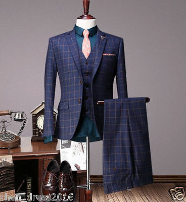 Grid Men's Wedding Suits Groom Business Tuxedos England Tailcoat Tailored Suits+