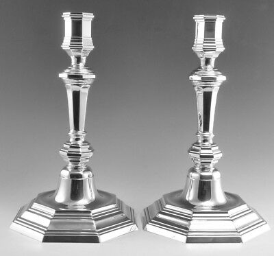 CHRISTOFLE Silver Plate - Pair of Queen Anne Style Candlesticks
