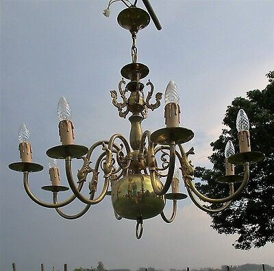 Vintage Ornate Flemish Dutch 8 Arms Chandelier Lights Brass Mermaids Fish
