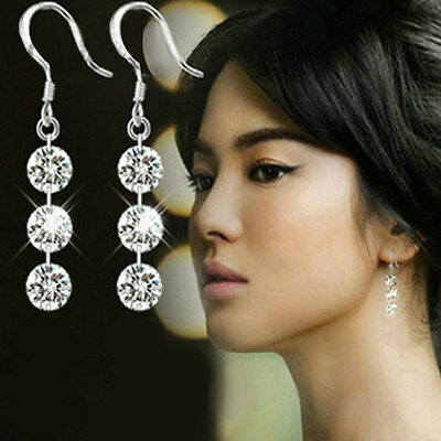 Hot New Fashion Charming Bridal Crystal 925 Sterling Silver Dangle Earring Gift