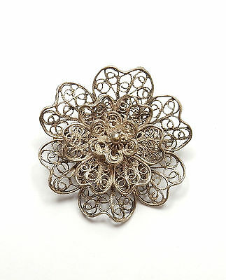 Vintage 925 Sterling Silver LARGE FILIGREE FLOWER PIN BROOCH 4.9g