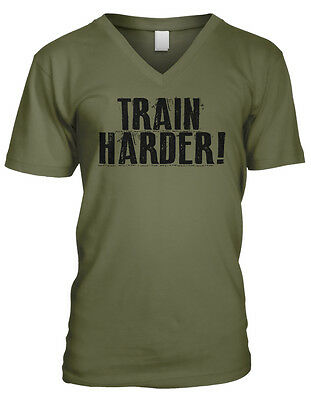 Train Harder! Lift Weights Cardio Workout Gym Push Yourself Men's V-Neck T-Shirt