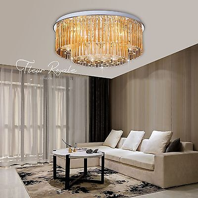 77381342 60CM Luxury Round Living Dining Room Hall Ceiling Light Crystal Glass