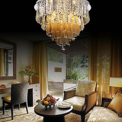50CM Luxury Round Living Dining Room Hall Ceiling Light Crystal Glass London