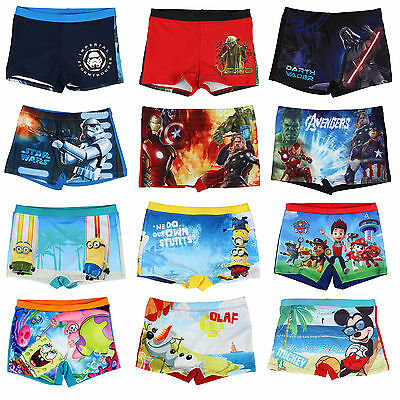Boys Swimming Trunks Shorts Star Wars Minions Paw Patrol Age 2 3 4 5 6 7 8 9 10