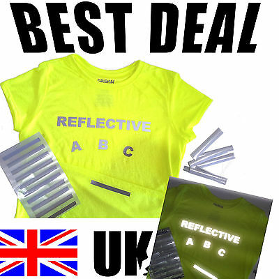 Iron On Reflective Letters Numbers Shapes Strips Tshirts Sports PER CHARACTER