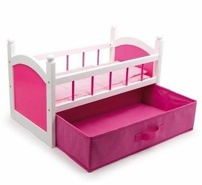 Dolls Wooden Crib Cot Bed With Bedding and Pink Clothes Drawer Storage, Toy