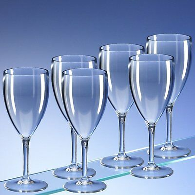 Crystal Clear Unbreakable Polycarbonate Wine Glasses 350ml (12oz) Pack of 6