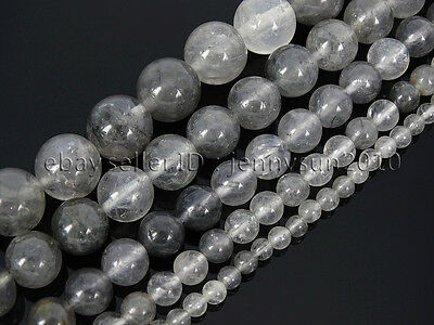 Natural Grey Cloudy Quartz Gemstone Round Beads 15.5'' 4mm  6mm 8mm 10mm 12mm