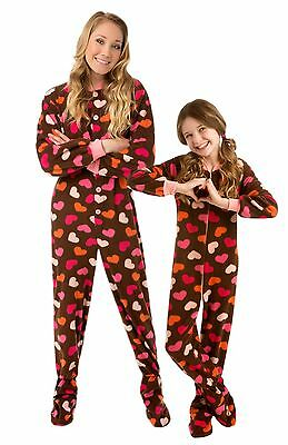 Big Feet Pjs - Brown With Hearts Footed Pajamas - Adult, Kids & Infant