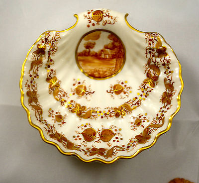 GORGEOUS vintage SHELL FRENCH PORCELAIN BURNT RED & GOLD HAND PAINTED