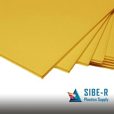 """(25 Pack)  YELLOW CORRUGATED BLANK SIGN SHEET 4mm x 24"""" x 18"""" HORIZONTAL SIGNS"""
