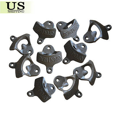 10 BLACK Rustic Open Here Cast Iron Wall Mount Beer Bottle Openers Soda Opener