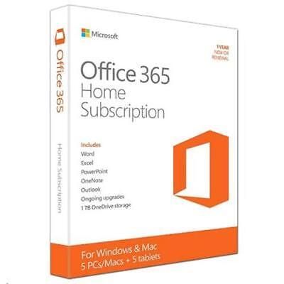 Microsoft Office 365 Home for 5 PCs/Macs  5 tablets for one household 32-bit/x64