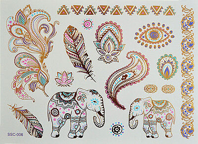 Flash Tattoo Extra Large Blatt Zarte Farben Metallic Tattoo sc06 Elefant
