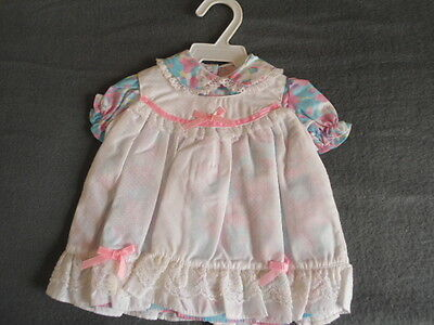 "Herbert Stolle Floral Dress w/ Pinafore Dress NEW in Garment Bag NEW 20"" Doll"