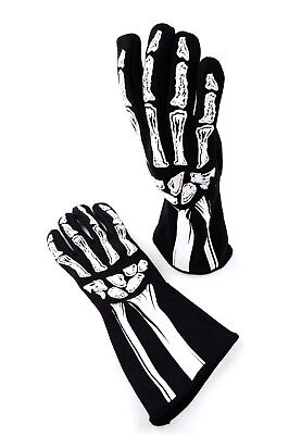 Rjs Racing Sfi 3.3/5 New Skeleton Racing Gloves Black / White Size 2X 600080140