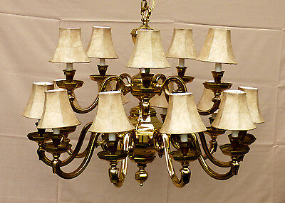 Two 2-Tiered Solid Brass 15 Light Candle Style Chandeliers & Two Wall Scones Set