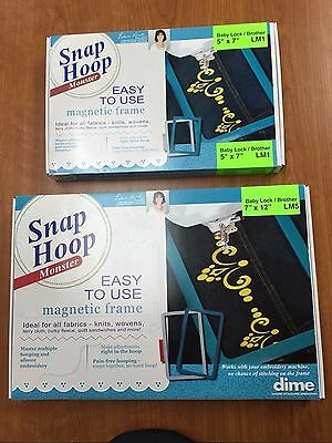"""Dime Snap Embroidery Hoop Monster 5""""X7"""" LM1 PLUS 7"""" x 12 LM5 Brother Babylock"""