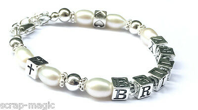 Silver and Pearl Christening Name Bracelet - Special Christening Gift