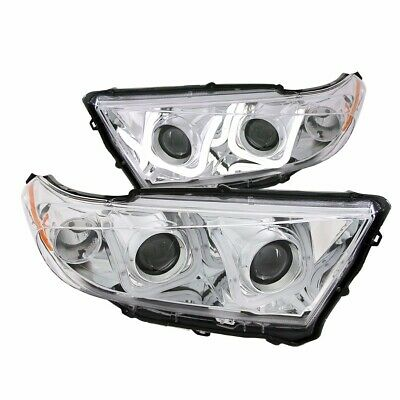 For 2011-2013 Toyota Highlander Projector Headlights U-Bar Style Chrome Clear