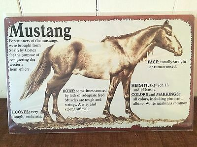 *New* Mustang Horse ~ Breed Standards Informational Decorative Tin Sign ~ 10x16