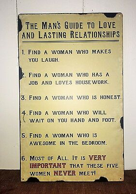 Man's Guide Tin Sign ~ Man Cave Decor ~ 16 x 10 ~ Humorous Rules for Love ~ New