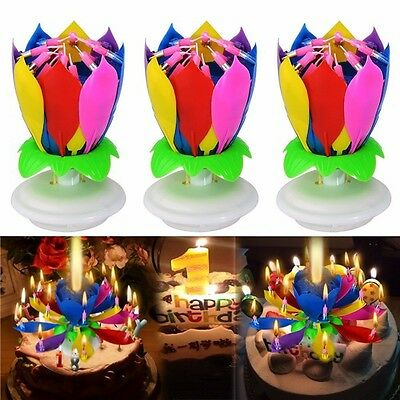 3PCS Amazing Birthday Music Spin Cake Candles Double Layers W 14 Small