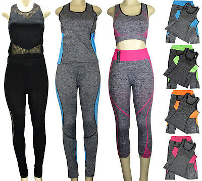 NWT Women's 2 Piece Athletic Gym Outfit Set Tank Top Yoga Workout One Size