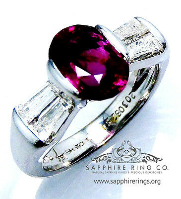 GIA Certified 18 kt White Gold 3.47 tcw Oval Cut Natural Ruby & Diamond Ring
