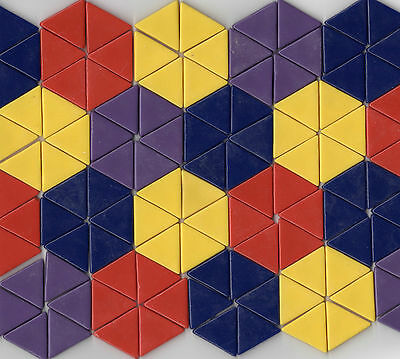 128pcs Geomosaic Mixed Triangles Red Yellow Purple Blue Mosaic Tiles Opus Romano