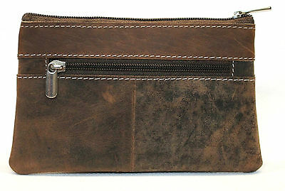 Quality Full Grain Cow Hide Hunter Leather Coin Purse. Brown. Style No: 12056.