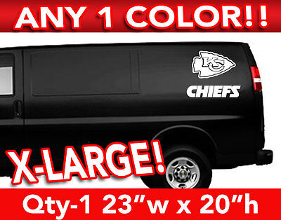 "KANSAS CITY CHIEFS WORD/ARROW LARGE LOGO DECAL STICKER 23""w x 20""h ANY 1 COLOR"