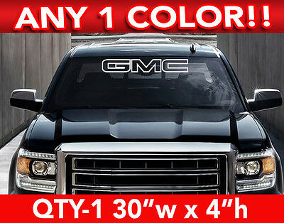 """GMC """"WORD"""" OUTLINE WINDSHIELD DECAL 30""""w x 4""""w ANY 1 COLOR"""