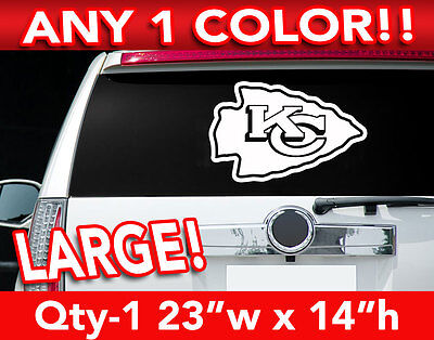 "KANSAS CITY CHIEFS ARROW LOGO LARGE DECAL STICKER 23""w x 20""h ANY 1 COLOR"