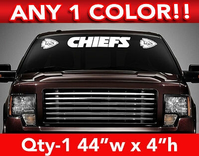"KANSAS CITY CHIEFS w/Logos WINDSHIELD DECAL STICKER 44""w x 4""h ANY 1 COLOR"