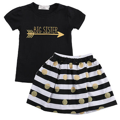 New Kids Girls Summer Short Sleeve Tops T-Shirt Striped Skirt Outfits Dress 2-7T