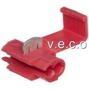 X100 Red Scotch Lock Quick Splice Connectors Terminals Cable Wiring 5 Amp Sw1001