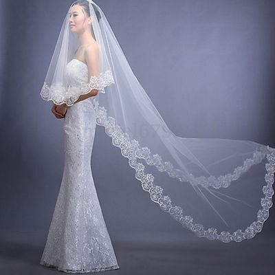 3M Length White Ivory Red Bridal Wedding Cathedral Long Veil Lace Edge Mantilla