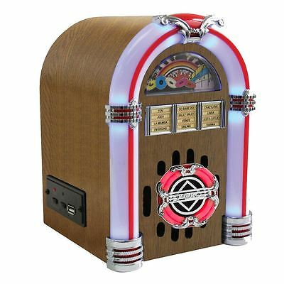Steepletone USB Sub LED Jukebox - Light Wood Retro Mini SD MP3 Music Speaker