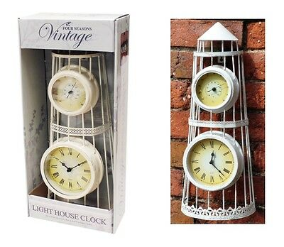 Vintage Light House Antique Battery Operated Garden Wall Clock & Thermometer