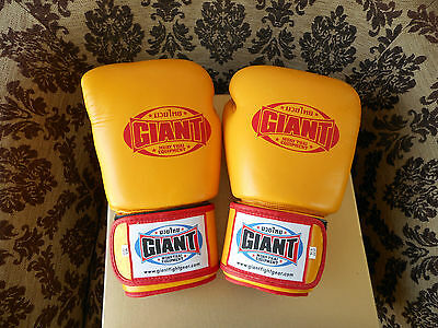 Giant 12oz YELLOW Leather Thai Boxing Gloves [MMA UFC Sparring Training]