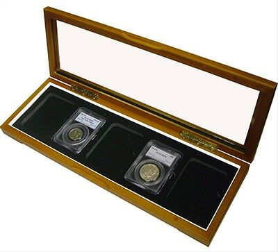 Guardhouse 5 Slabs Certified Coins Wood Glass Top Box PCGS NGC IGC Case Free US