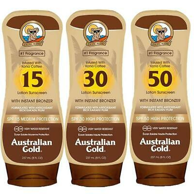 Australian Gold Sun Protection Factor SPF 15, 30 ,50 Lotion With Instant Bronzer