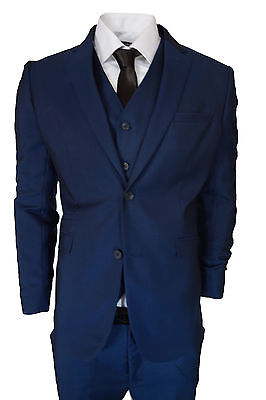 Boy's Cavani Suit  3 Piece Blue Prom WEDDING'S  Age 1-15