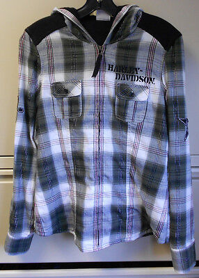Harley Davidson Womens Green Plaid Hoodie 96071-13VW