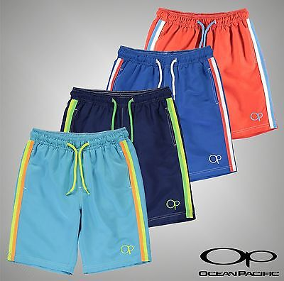 New Junior Boys Branded Ocean Pacific Drawstring Plain Swim Shorts Size Age 7-13