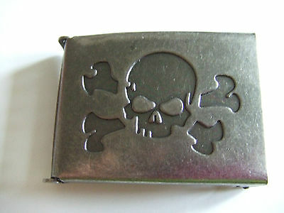 Antique Nickel Finish over Steel Flip Top Military Web Belt Buckle (Skull) 1-1/2