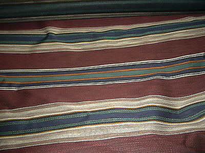 Indoor Outdoor Upholstery Fabric Burgandy Green Navy Stripe Acrylic New 5 Yds