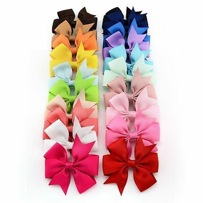"20pcs 3"" Baby Girls Kids Toddler Flowers Hair Clip Bow Accessories Hairpin"